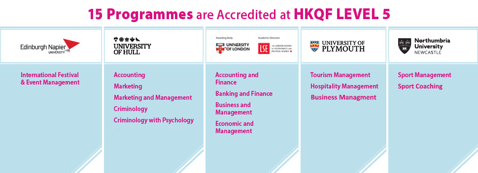 17 Programmes are accredited at HKQF Level 5